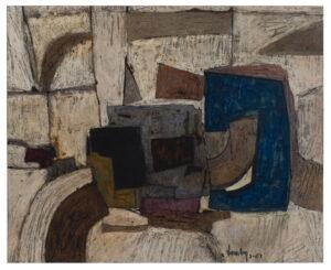 """""""Le Parcelaire"""", Technique mixte sur papier, 57 cm x 70 cm, 1963"""